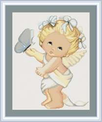 Petit Point Cross Stitch Kit Angel and Butterfly - Luca-S