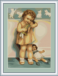 Petit Point Cross Stitch Kit Girl with Doll - Luca-S