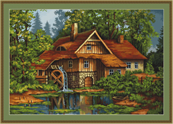 Petit Point Cross Stitch Kit Mill in the Forest - Luca-S