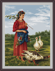 Petit Point Borduurpakket Girl with geese - Luca-S