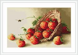 Petit Point Cross Stitch Kit Basket of strawberries - Luca-S