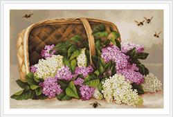 Petit Point Borduurpakket Basket of lilacs - Luca-S