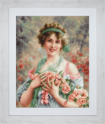 Petit Point Borduurpakket The Girl with Roses - Luca-S