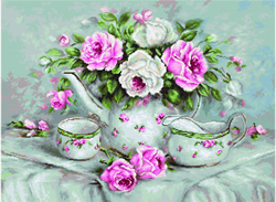 Petit Point Borduurpakket English Tea & Roses - Luca-S