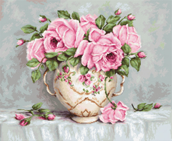 Petit Point Borduurpakket Pink Roses - Luca-S