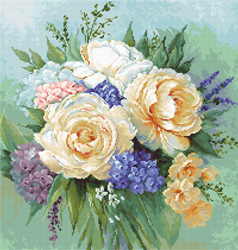 Petit Point borduurpakket Floral Bouquet - Luca-S