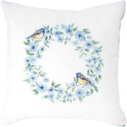 Cushion Cross Stitch Kit Bird Blue - Luca-S