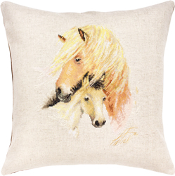 Borduurpakket Pillow Horse with Foal - Luca-S