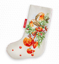 Borduurpakket Christmas Stocking Robin - Luca-S
