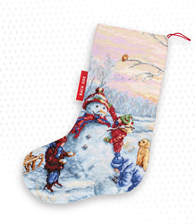 Cross stitch kit Christmas Stocking Snowman - Luca-S