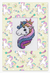 Cross stitch kit Postcard Unicorn - Borduurpakket