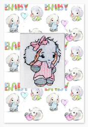 Cross stitch kit Postcard Baby Elephant Pink - Borduurpakket