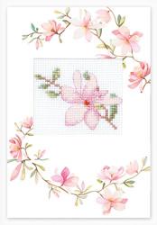 Cross stitch kit Postcard Pink Flower - Luca-S
