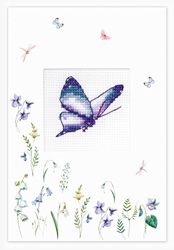 Borduurpakket Postcard - Butterfly Purple - Luca-S