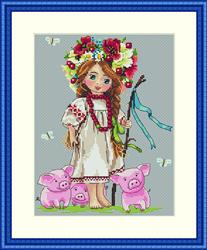 Cross Stitch Kit Shepherd Girl - Merejka