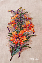 Cross stitch kit Vintage Lilies (Linen) - Merejka