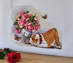 Cross stitch kit Bulldog and Butterflies - Merejka
