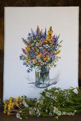 Cross stitch kit The Thistle Bouquet - Merejka