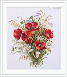 Cross stitch kit Poppies and Oats - Merejka