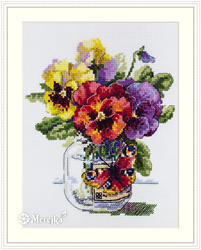 Cross stitch kit Pansies and Butterfly - Merejka