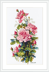 Cross stitch kit Pink Roses - Merejka