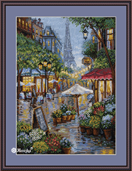 Cross stitch kit Rainy Paris - Merejka