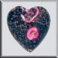 Glass Treasures Large Black Heart PinkRosebud - Mill Hill