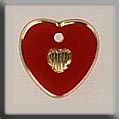Glass Treasures Small Engraved Heart Red-Gold - Mill Hill