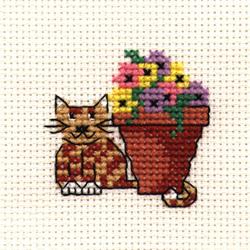 Cross Stitch Kit Flowerpot Cat - Mouseloft