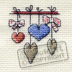 Borduurpakket Dangling Hearts - Mouseloft