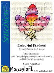 Cross stitch kit Colourful Feathers - Mouseloft
