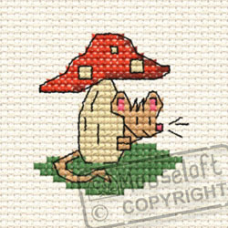Cross Stitch Kit Tiny Toadstool in the Woods - Mouseloft