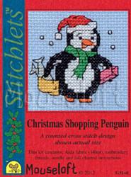 Borduurpakket Christmas Shopping Penguin - Mouseloft