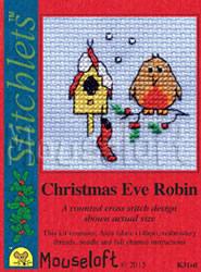 Borduurpakket Christmas Eve Robin - Mouseloft