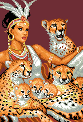 Pre-printed Aida A Girl And Cheetahs - Matryonin Posad