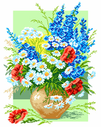 Pre-printed Aida Delphinium And Ox-Eye Daisy - Matryonin Posad