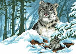 Pre-printed Aida Snow Leopard - Matryonin Posad