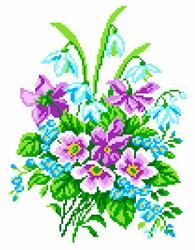 Pre-printed Aida Delicate Bouquet - Matryonin Posad