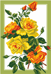 Pre-printed Aida Bouquet Of Roses - Matryonin Posad