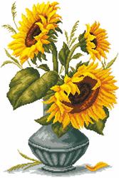Voorbedrukt Aida Sunflowers In A Vase - Matryonin Posad