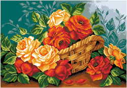 Voorbedrukt Aida Roses In A Basket - Matryonin Posad