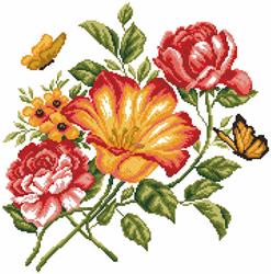 Pre-printed Aida Flowers Caprice - Matryonin Posad