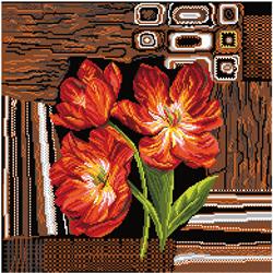 Pre-printed Aida Tulips On A Carpet - Matryonin Posad