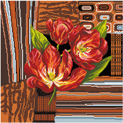 Pre-printed Aida Tulips In Brown - Matryonin Posad