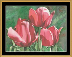 Cross Stitch Chart Golden Tulips - Mystic Stitch