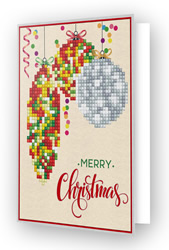 Diamond Dotz Greeting Card Merry Christmas Baubles Traditional - Needleart World