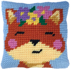 Cushion cross stitch kit Spring time Fox - Needleart World