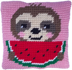 Cushion cross stitch kit Sloth Munch - Needleart World