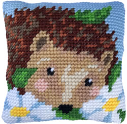 Cushion cross stitch kit Daisy Hedgehog - Needleart World