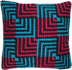 Kussen borduurpakket Blue & Red Bargello - Needleart World